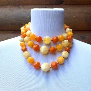 Vintage Orange Plastic Short Necklace